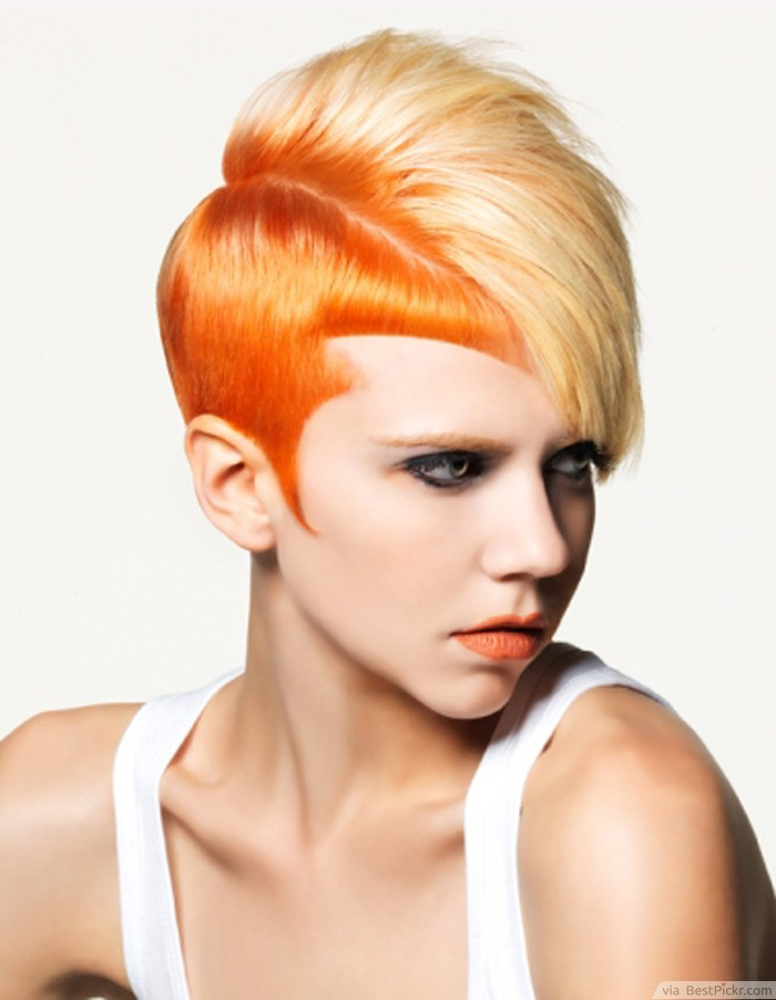 Short Pop Punk Hairstyle With Fruity Orange Mohawk ❥❥❥ http://bestpickr.com/short-punk-hairstyles