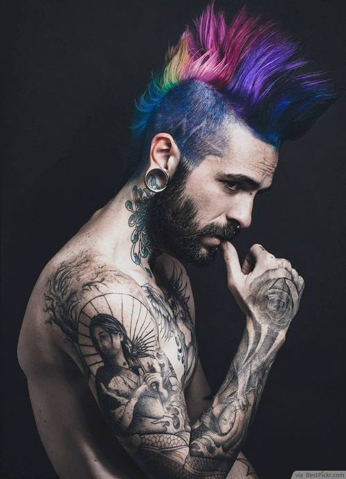 Technicolor Mohawk Punk Rock Hairstyle ❥❥❥ http://bestpickr.com/punk-hairstyles-for-men