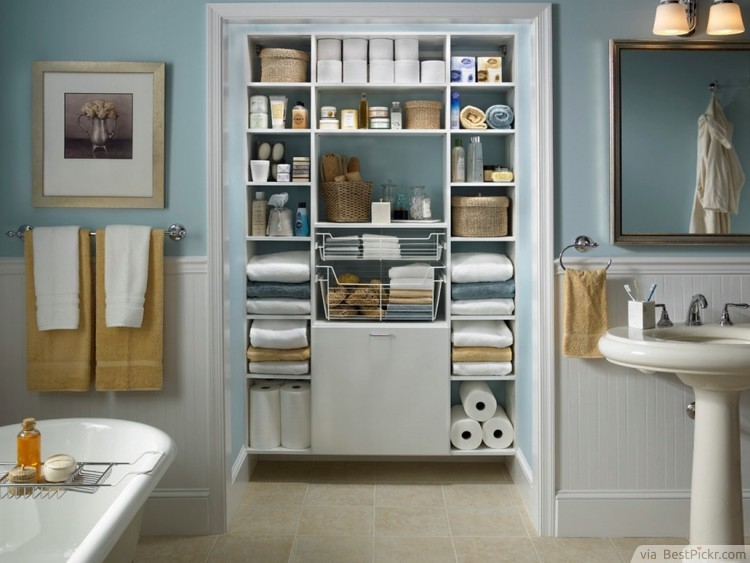 compact bathroom design with built in organized closet http - Closet Bathroom Design