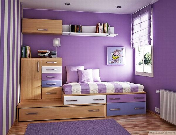 Purple Bedroom With Well Placed Cabinets Http Bestpickr Small Interior Design Ideas