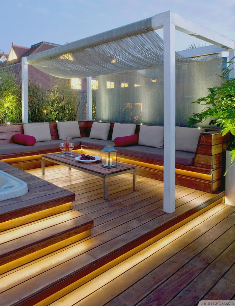 Patio Deck Design Ideas deck and patio combinations combined patio deck and flagstone patio best patio design ideas Low Level Luxury Deck Lighting Idea Httpbestpickr