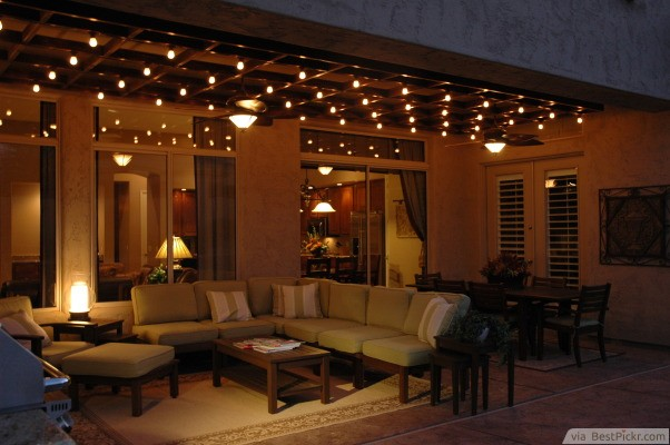 cozy deck with perfect outdoor ligting httpbestpickrcom - Ideas For Outdoor Patio Lighting