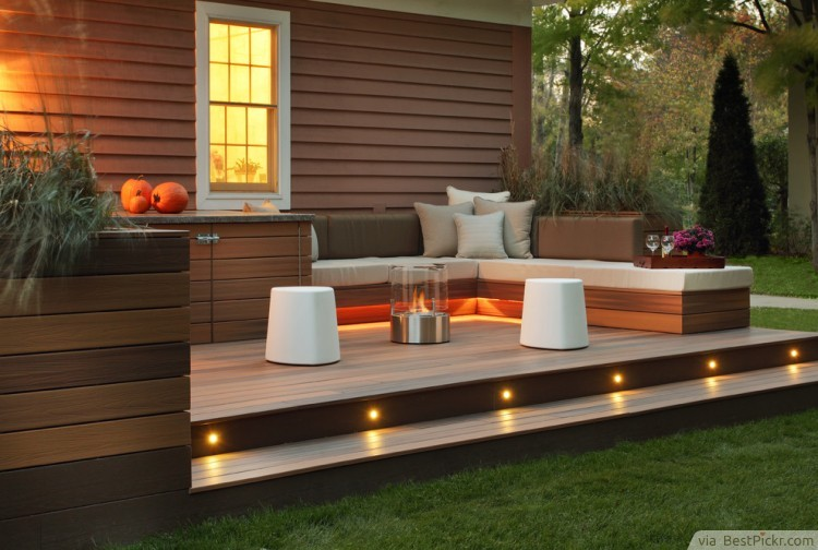 10 great deck lighting ideas for cool outdoor patio design bestpickr modern deck with led stair lights httpbestpickr aloadofball Gallery