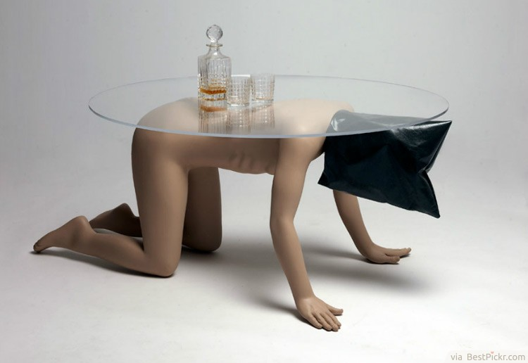 Strange Naked Human Coffee Table Art Concept