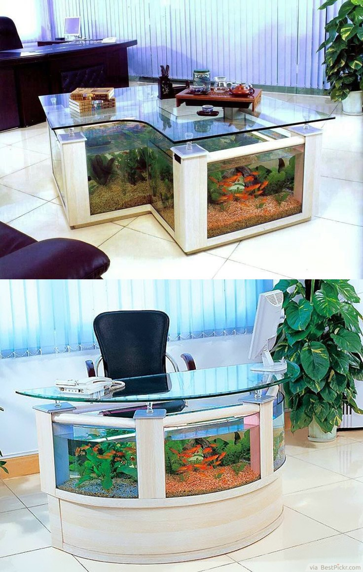 Awesome Aquarium Office Desk Clever Design With Golden Fish ❥❥❥ Http://bestpickr Awesome Design