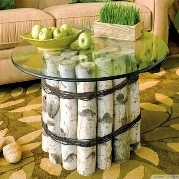 Natural Birch Logs Round Glass Top Coffee Table ❥❥❥ Http://bestpickr U2026