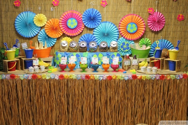 tasty ice cream and colorful hawaiian theme decorations httpbestpickr - Party Decorating Ideas For Adults