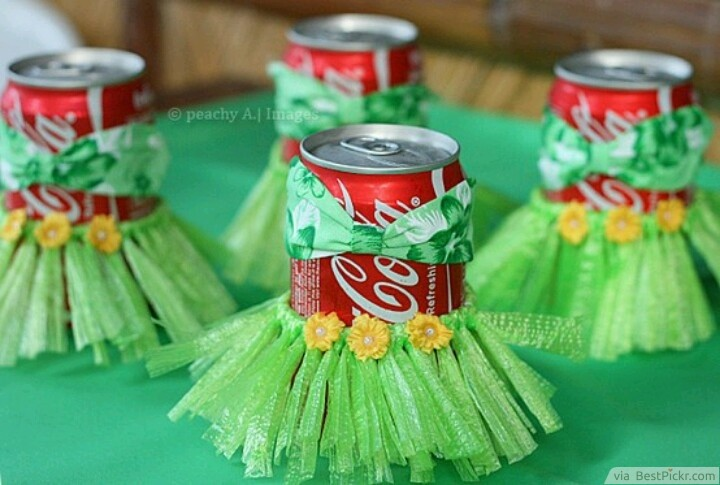 Coca-Cola Cans Turned Into Hula Dancers ❥❥❥ http://bestpickr.com/hawaiian-luau-party-ideas