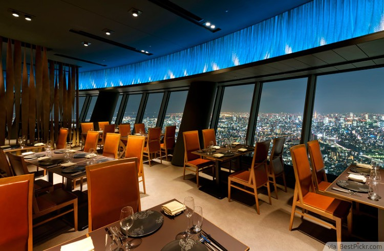 contemporary sky restaurant with beautiful view tokyo httpbestpickr - Restaurant Design Ideas