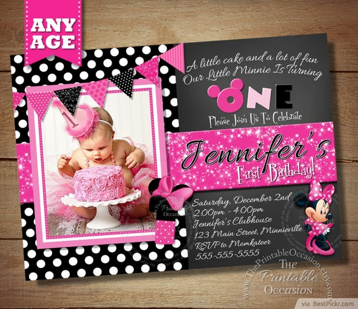 Chalkboard Minnie Mouse Baby Girl Birthday Invitation Bestpickr Mickey Invitations