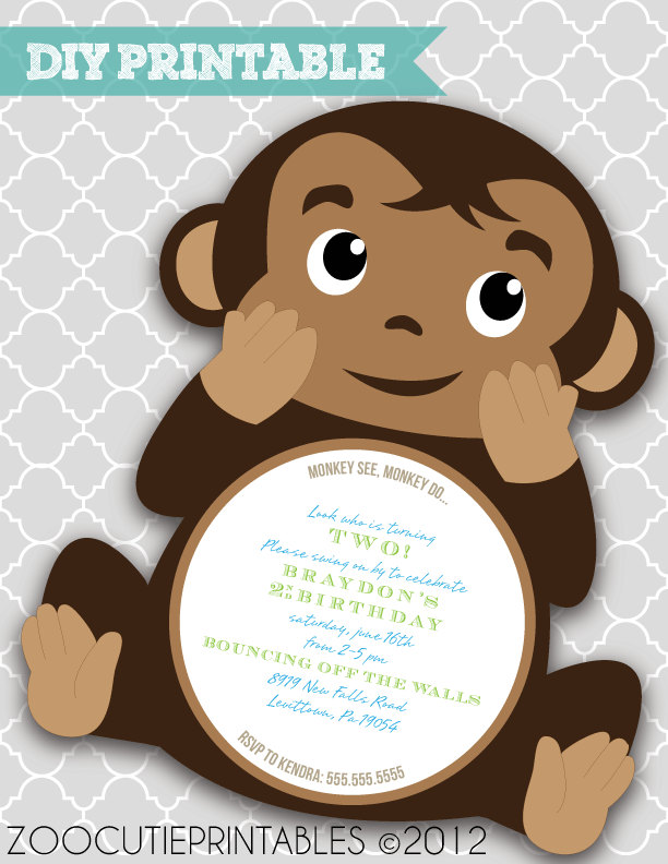 printable monkey baby shower invitations  bestpickr, Baby shower