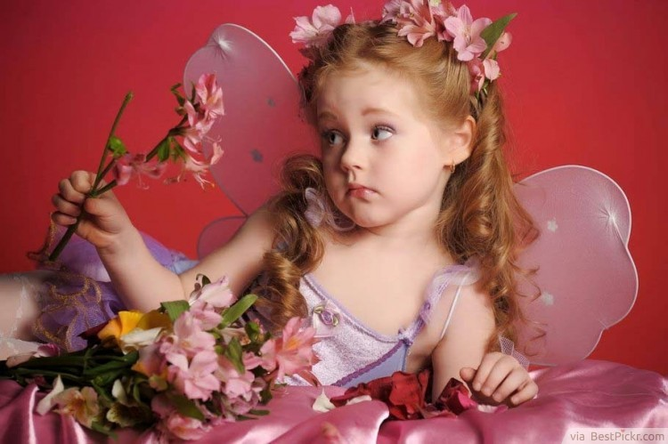 Fairy Girl With Pink Flowers And Magic Wand Bestpickr Cute Baby Girls Boys Photos