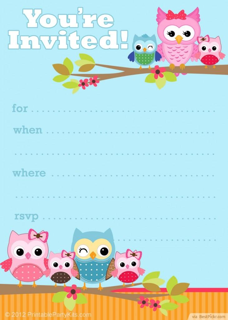 Free printable owl party invitation template http