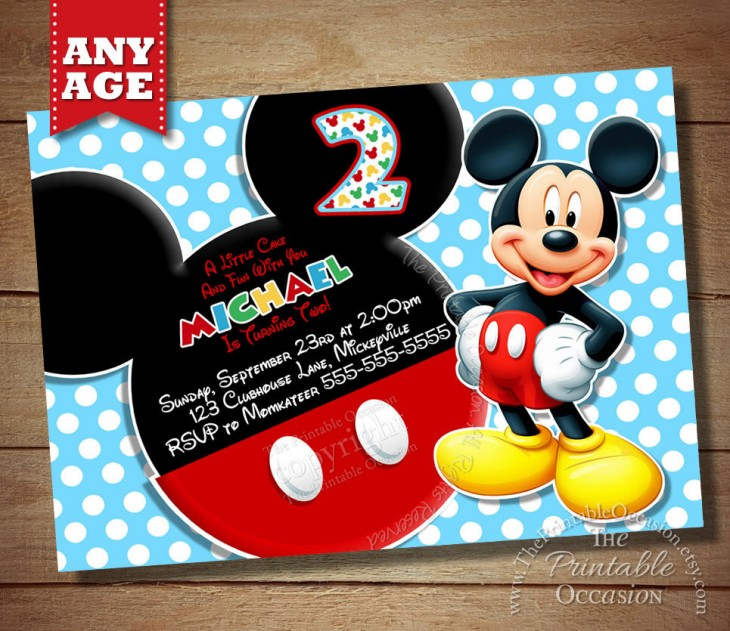 Printable Mickey Mouse Polka Dot Kids Birthday Invitation Bestpickr