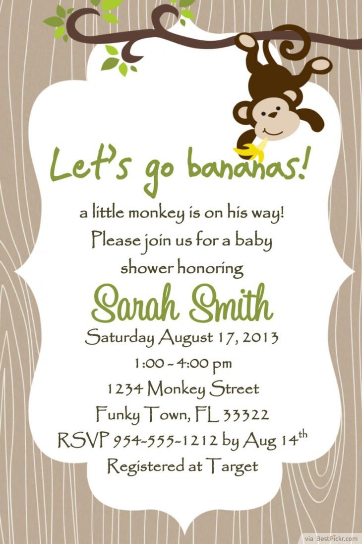 Free Printable Monkey Baby Shower Invitations for your inspiration to make invitation template look beautiful