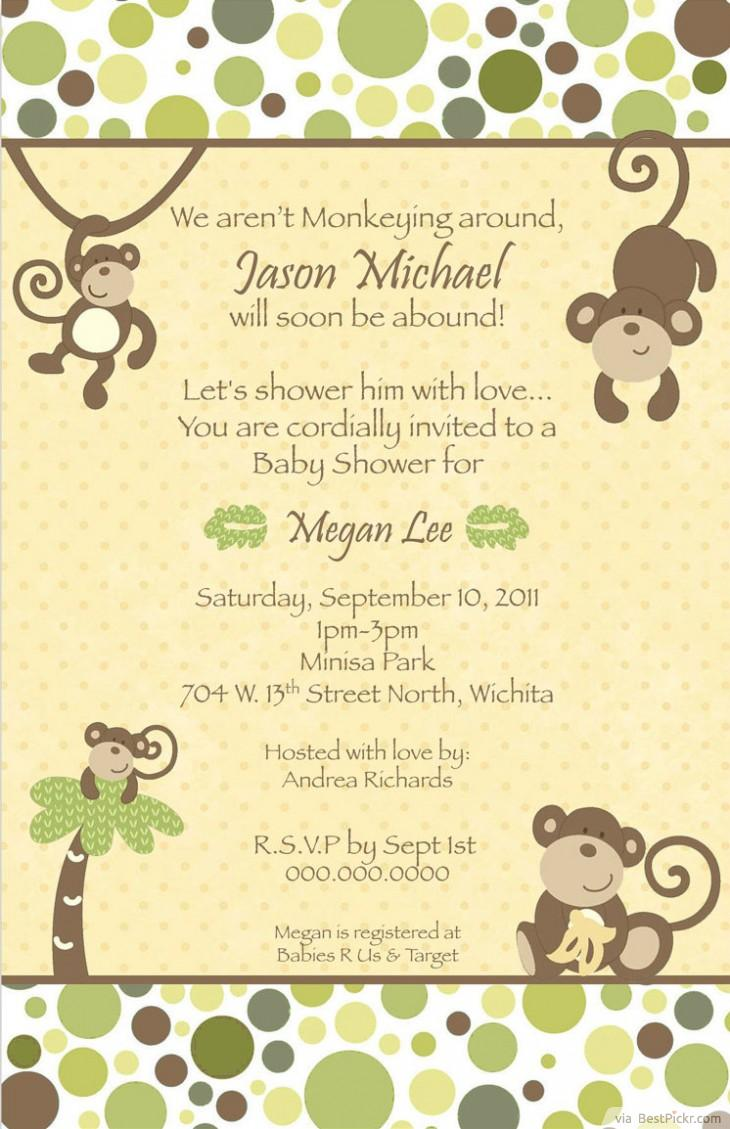 printable monkey baby shower invitations bestpickr
