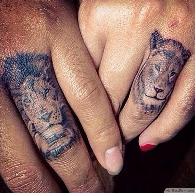 0fef02a84 Ring Finger Matching Lion Tattoos For Couples ❥❥❥  http://bestpickr.com/matching-couples-tattoos