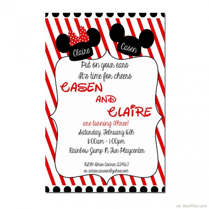 Twin Minnie Mickey Mouse 1st Birthday Invitation Printable For Boy Girl Bestpickr Invitations