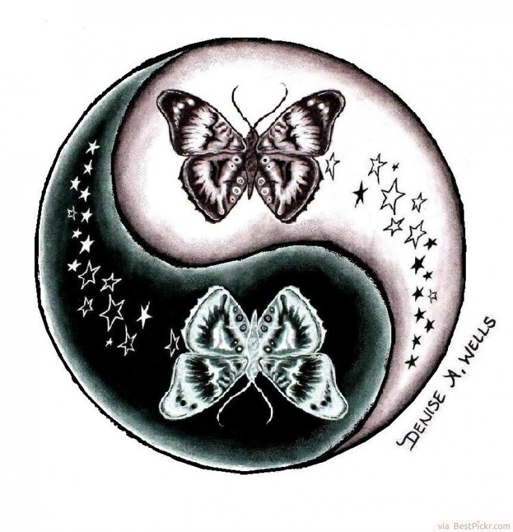 Yin yang butterfly stars tattoo design for Architecture yin yang