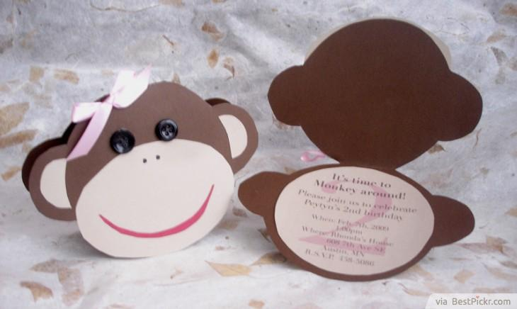 Custom DIY Monkey Head Invitation Card ❥❥❥  Http://bestpickr.com/printable Monkey Baby Shower Invitations