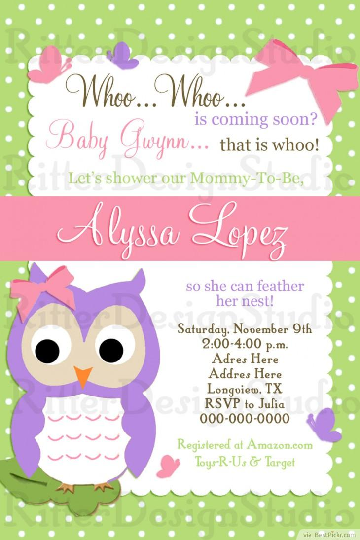 Colorful Owl Baby Girl Shower Invitation ❥❥❥ Http://bestpickr.com  Free Baby Shower Invitation Templates Printable